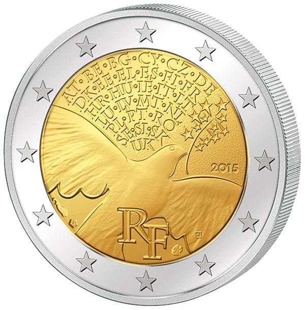 Франция, 2 евро 2 15г, 7 лет миру в Европе